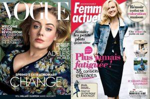 En vis-à-vis, le Vogue USA de ce mois-ci avec Adèle, et une couverture récente de Femme Actuelle
